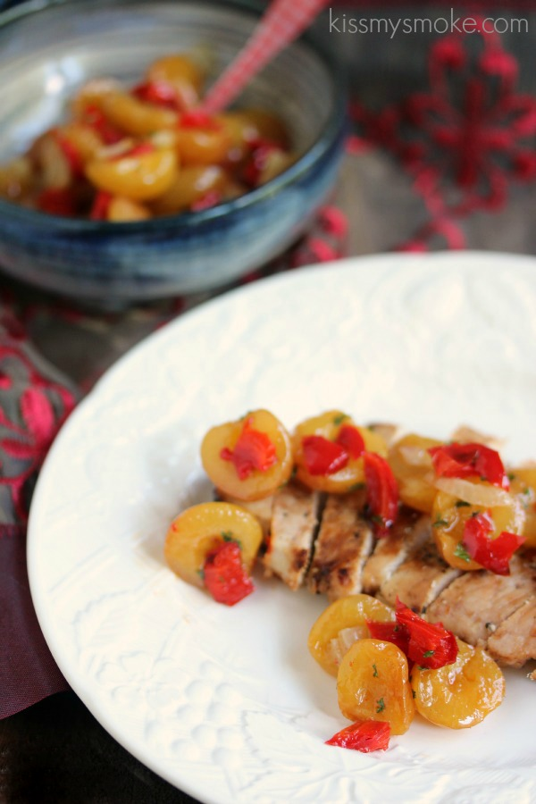 Cherry Smoked Pork Chops with Rainier Cherry Salsa | kissmysmoke.com | #grill #cherry #pork