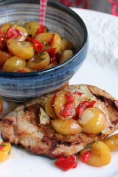 Smoked Cherry Pork Chops with Rainier Cherry Salsa