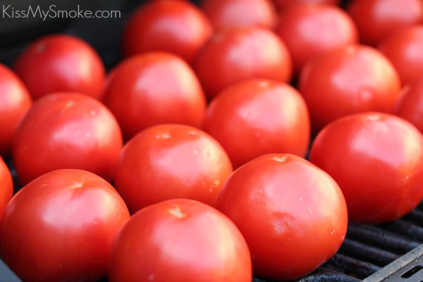 Tomatoes getting ready to be fire roasted!