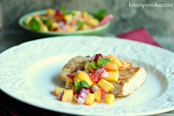 Grilled Mahi Mahi with Peach and Pink Grapefruit Salsa  | kissmysmoke.com | #grill #bbq #fish #salsa #recipe