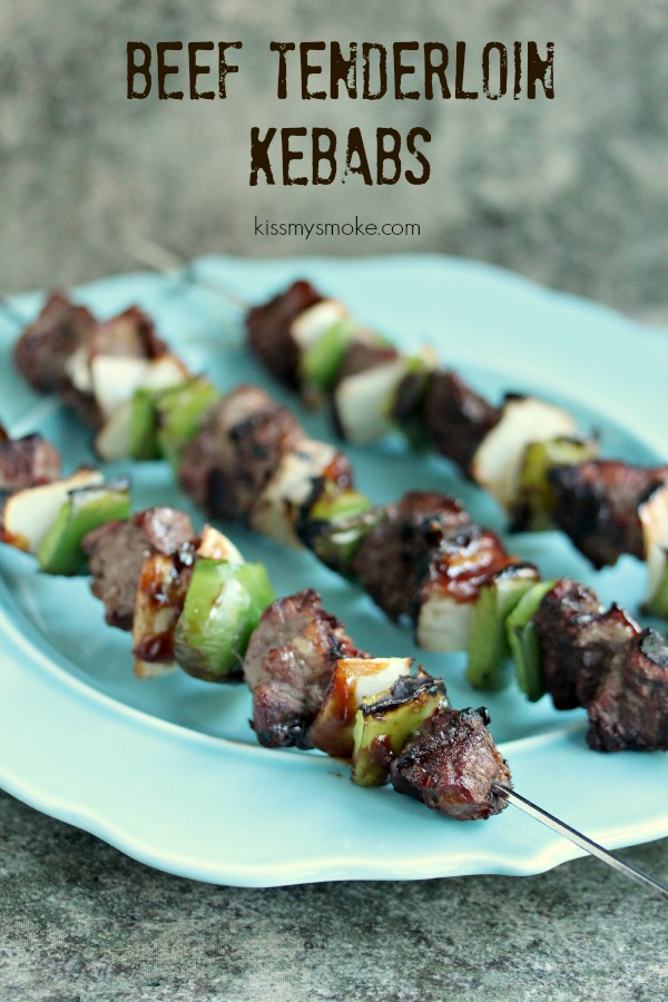 Beef Tenderloin Kebabs with Green Peppers and Onions | Kiss My Smoke