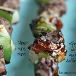 Beef Tenderloin Kebabs with Green Peppers and Onions