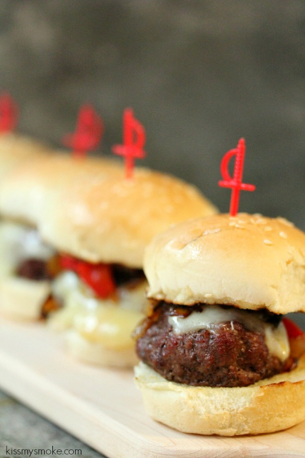 Planked Beef Sliders with Provolone, Roasted Red Peppers and Caramelized Onions | kissmysmoke.com | Perfect little beef burgers for any weekend or game day! Very easy to make!