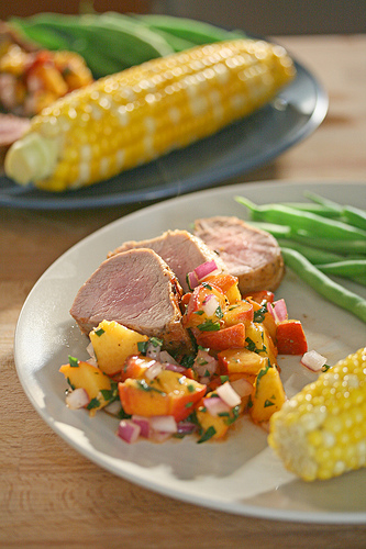 Grilled Pork Tenderloin with Fresh Peach Salsa by Crumb | Grilled Pork Round Up Featured on kissmysmoke.com