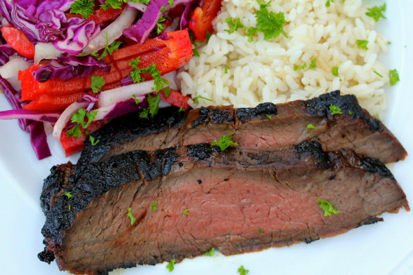 Korean Style Barbecued Flank Steak by Karen's Kitchen Stories | Beef Recipe Round Up Featured on kissmysmoke.com