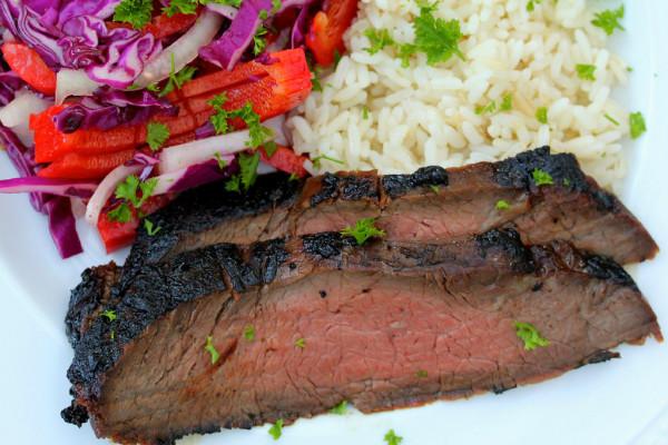 Korean Style Barbecued Flank Steak by Karen's Kitchen Stories | Beef Recipe Round Up Featured on kissmysmoke.com