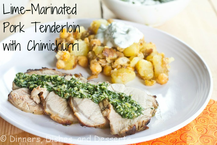 Lime-Marinated Pork Tenderloin with Chimichurri by Dinners, Dishes and Desserts | Grilled Pork Round Up Featured on kissmysmoke.com