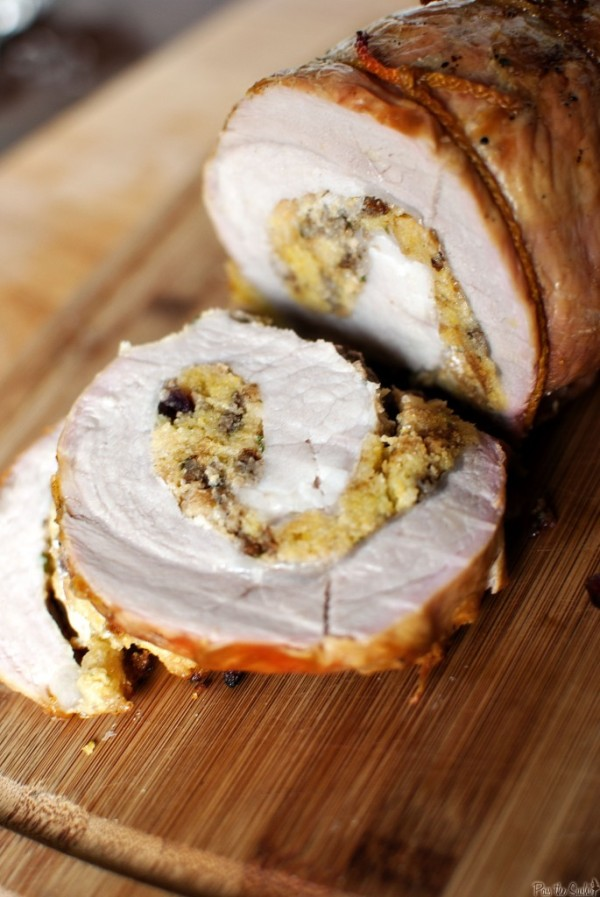 Charcoal-Grilled Pork Loin with Apple-Cranberry Filling by Pass the Sushi | Pork Round Up Featured on kissmysmoke.com