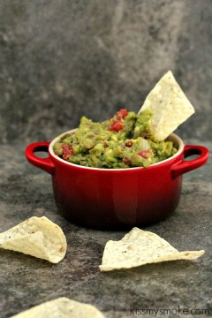 Grilled Guacamole | kissmysmoke.com | Easy to make, addictive to eat. Perfect for game day.