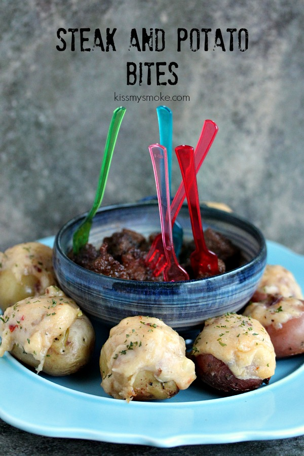Grilled Steak and Potato Bites |Kiss My Smoke | A new twist on a old classic. Steak and potatoes gets made into bite sized appetizers for game day.