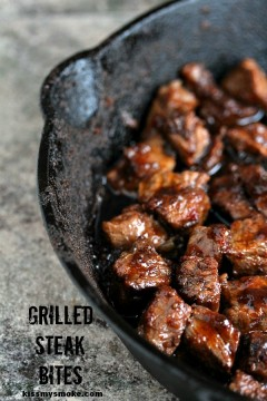 Steak Bites are cooked to perfection on the grill!