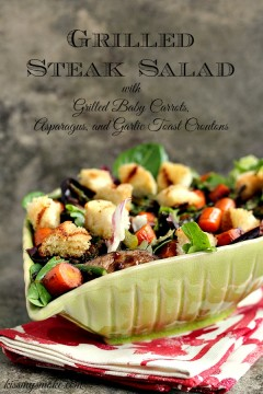 grilled steak salad in a green bowl with a red and white napkin