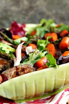 Steak Salad with Grilled Baby Carrots, Asparagus and Garlic Toast Croutons