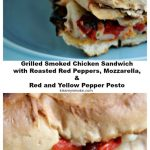 Grilled chicken sandwich collage image. Top image features chicken sandwich on a blue plate. Bottom image features a close up image showing all the layers of the sandwich. Text with recipe name is in between the two photos.