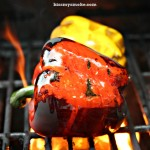 Fire Roasted Bell Peppers on a hot grill with flames shooting up!