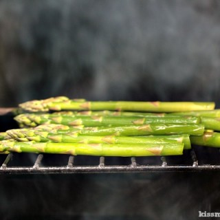 Grilled Asparagus in Brown Butter and Shallots | Asparagus grilled to perfection, then smothered in shallots caramelized in brown butter. All done on the grill.