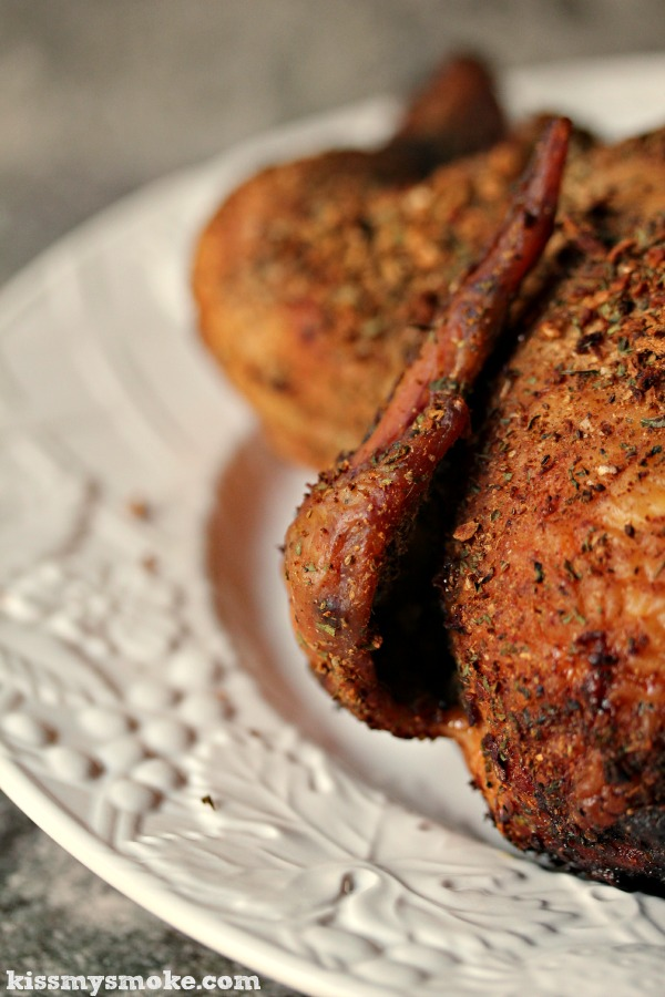 Smoked Whole Chicken | kissmysmoke.com | Perfectly spiced and smoked.