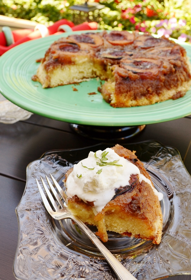 Garnished grilled Peach and Serrano Upside-Down Cake by Cakewalker: Guest Post on kissmysmoke.com