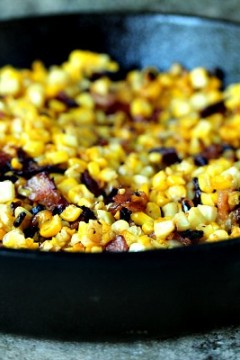 Charred Skillet Corn with Bacon #BaconMonth #Giveaway
