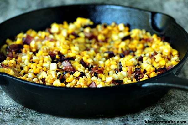 Grilled Charred Skillet Corn with Bacon | This is a great way to use up any leftover corn on the cob you have this season.
