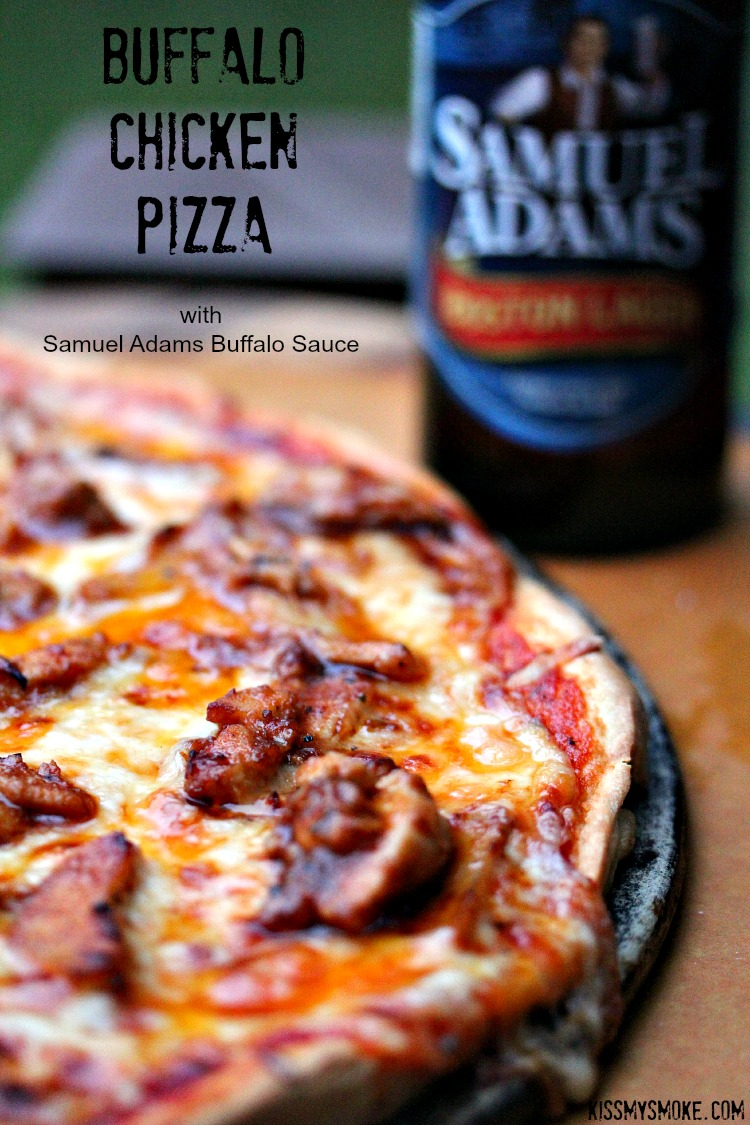 Buffalo Chicken Pizza | kissmysmoke.com | This recipe includes homemade pizza dough using beer, and grilled buffalo chicken also using beer. It all adds up to one seriously scrumptious grilled pizza!