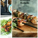 Image shows text stating 12 Easy Chicken Kebab Recipes on kiss my smoke. Photo collage contains 5 photos of chicken kebabs stacked with ingredients on varying backgrounds.