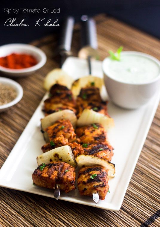 Spicy Grilled Chicken Kebab Recipe with Yogurt Mint Sauce by Food Faith Fitness