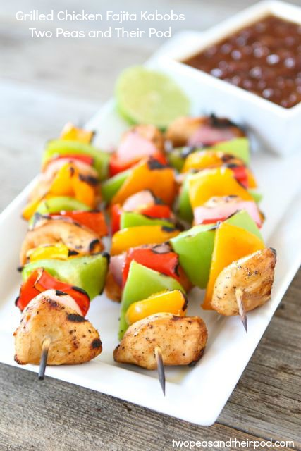 Grilled Chicken Fajita Kabobs by Two Peas and Their Pod