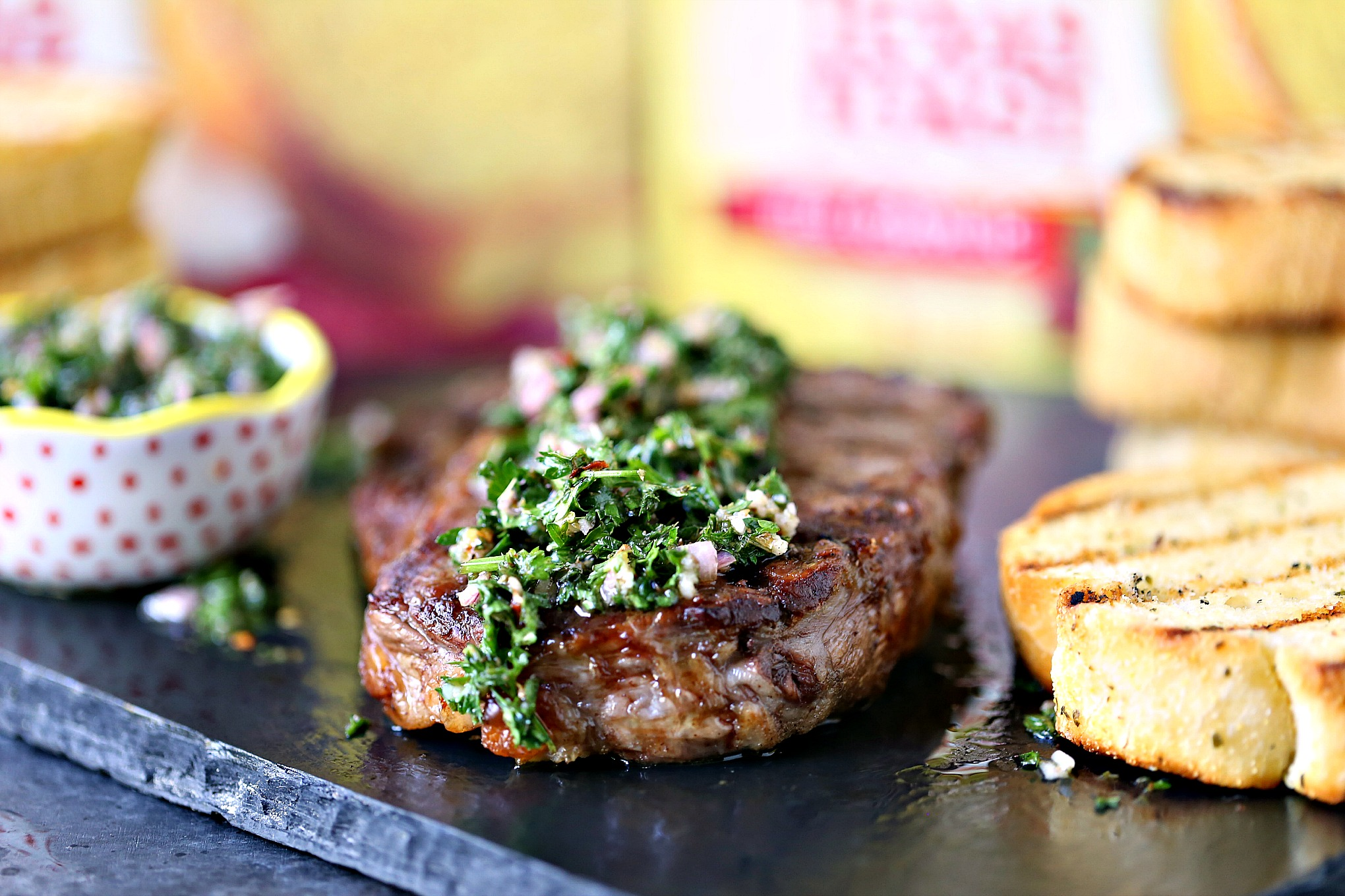 Grilled Rib Steaks with Chimichurri Sauce served with Texas Toast for dinner!