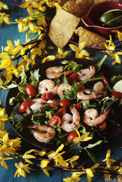Grilled Tequila Shrimp Salad from Pass the Sushi featured on 15 Kick-Ass Grilling Recipes by kissmysmoke.com- These 15 Kick-Ass Grilling Recipes are for die-hard grill lovers. Grilling is a way of life for serious grillaholics. These recipes were hand-picked for those people who love the process as much as the end result!