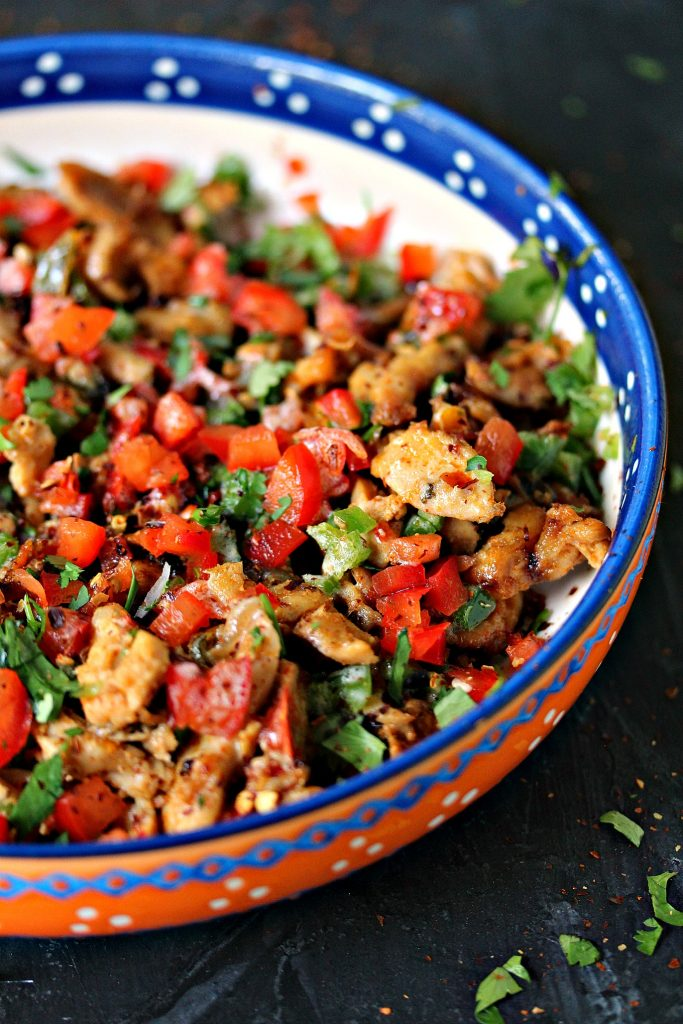 Grilled Chicken Fajita Foil Packs served in a colorful bowl.