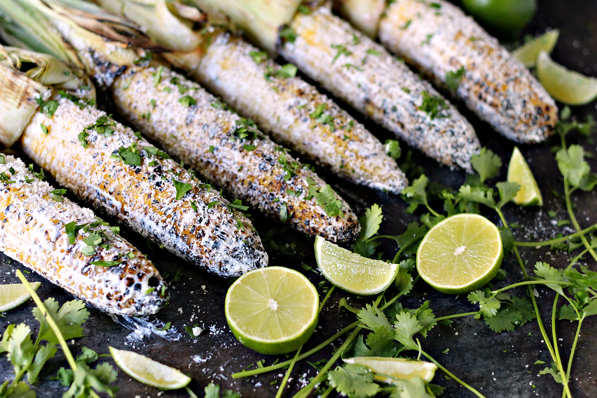 Grilled Mexican Street Corn (Elotes) ready to be served.