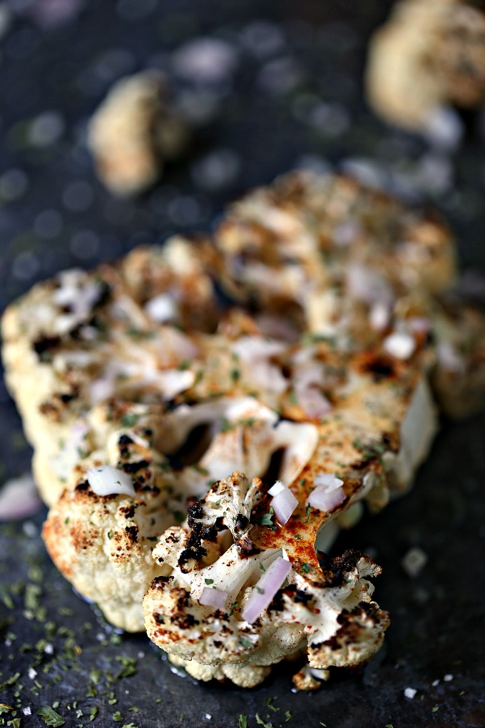 close up image of Grilled Spicy Cauliflower Steaks