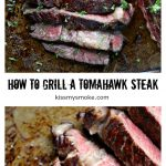 collage image featuring two photos of a grilled reverse sear tomahawk steak with text in between the two images that states the recipe and blog name